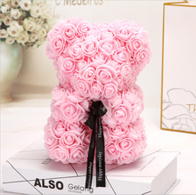 25cm Cartoon Rose Bear Artificial Flowers PE Flower Christmas Gifts for Women Valentines Day Gift Party Decoration