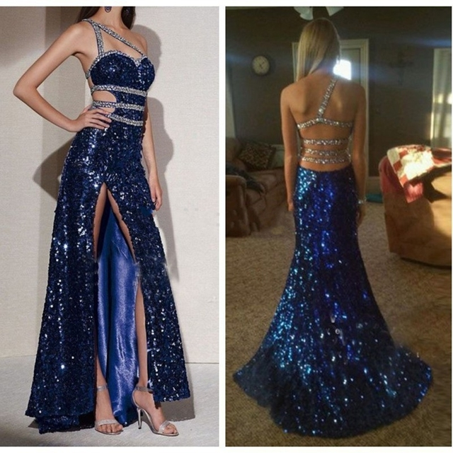 New elegante sereia vestidos de baile azul royal lantejoulas frisado backless mangas compridas vestidos de baile 2017 evening party dress