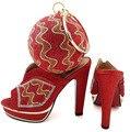 Chegada nova Cor vermelha Sapato Italiano e Saco de Set Wedding Africano Conjuntos de sapato e Bolsa Itália Mulheres de Sapato e Bolsa Para Combinar WTT1-17
