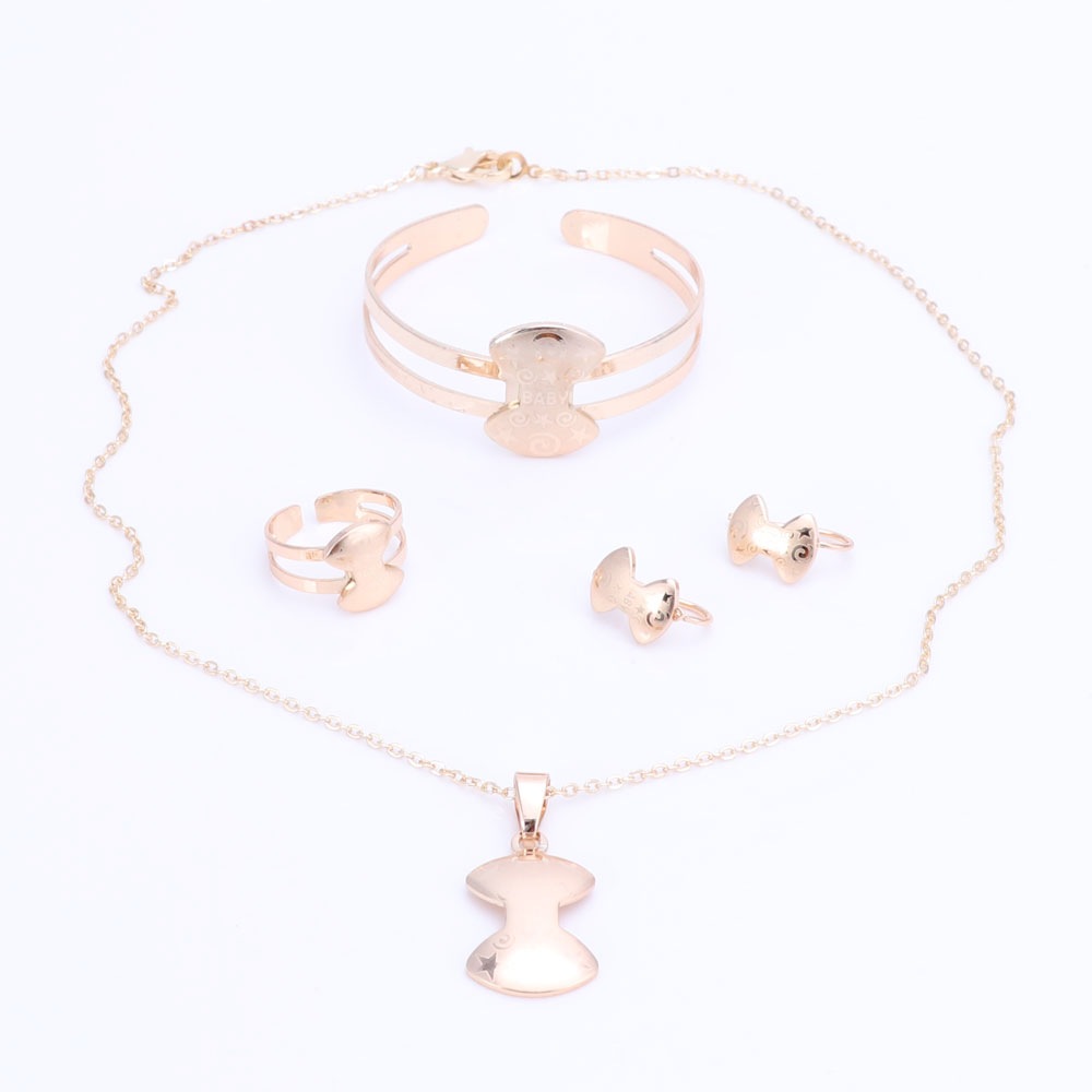 Gold Color Baby Jewelry Set Gift Children Christmas Tree Bow Pendant Kids Jewellery Ring Earring Bracelet Necklace Jewelry Set