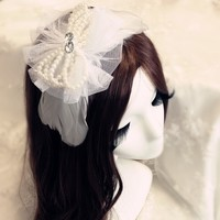 Fashion Hair Accessories Wings White Angel Pearl Lace Flowers Headband Hoop Headdress