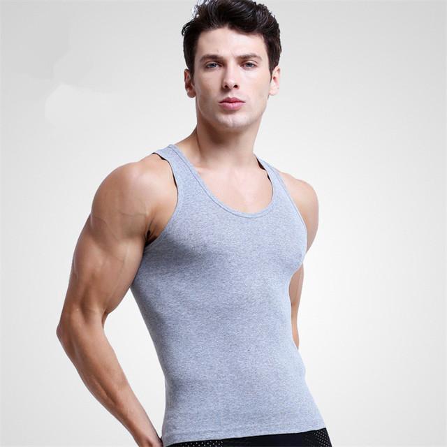 3PCS Men's Close-fitting Vest Fitness Elastic Casual O-neck