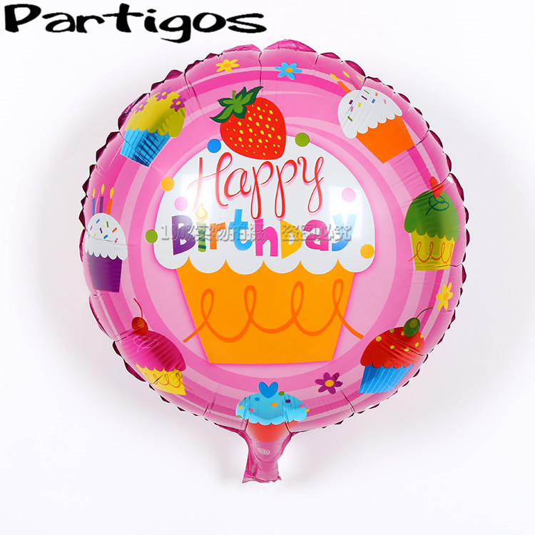 Free shipping 50pcs/lot 18 inch round pink  happy birthday balloons helium foil