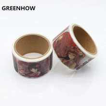 GREENHOW high quality washi paper tape Beautiful Plait girl And Scarf girl masking japan washi tape