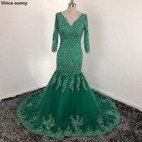 Vinca Sunny Elegant Arabic Long Evening Dresses 2018 3 4 Abaya Dubai Kaftan V Neck Applique