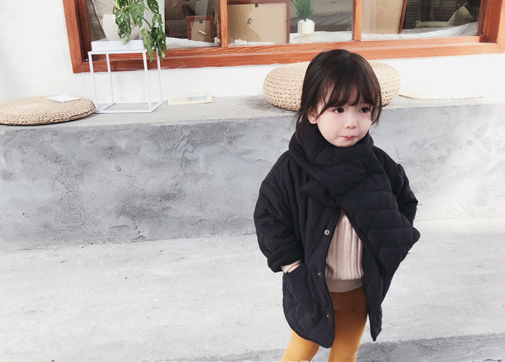Image 4 - Girls Winter fashion polar fleece thicken single breasted long coats with neckerchief kids warm long jackets outwear clothing-in Down & Parkas from Mother & Kids