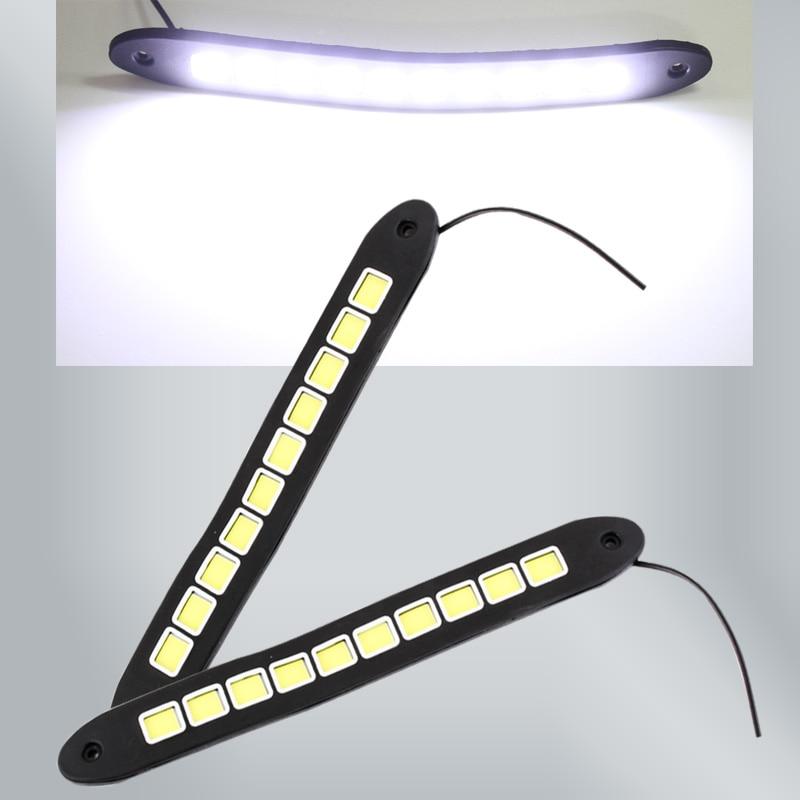 2 unids LED Correr luz cuadrada coche bendable coche impermeable COB día luces Led flexible DRL conducción lámpara