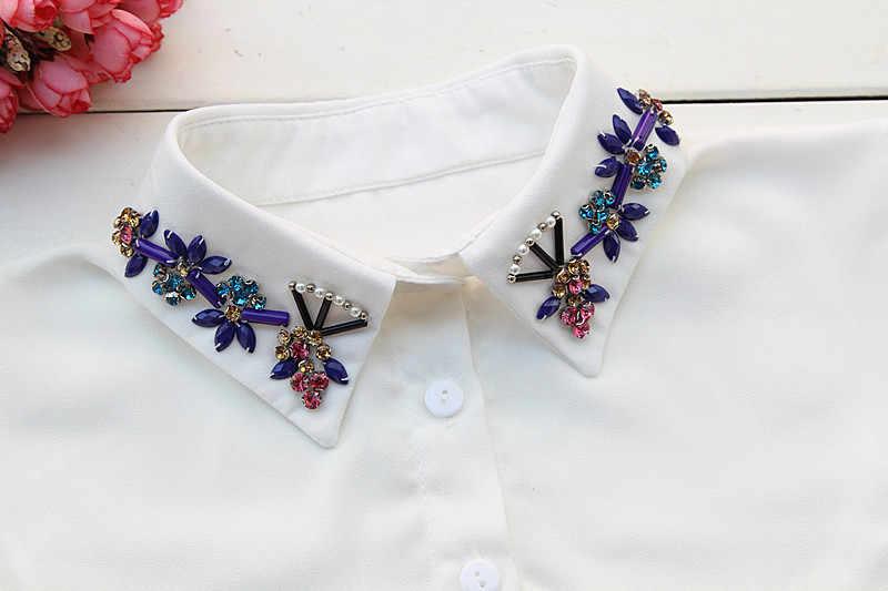 2015 spring and summer white beaded rhinestone decoration false collar shirt lace collar blouse fake shirt collar
