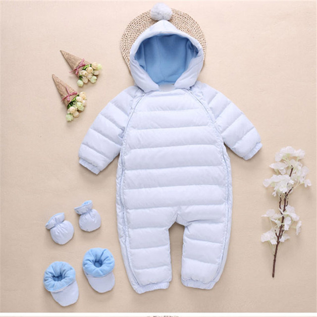 3ecf52da1 Warm children winter jumpsuit striped Rompers baby girl winter coat ...