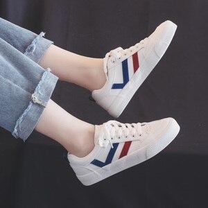 Image 4 - Женская Повседневная обувь; Новинка осени 2019 года; Модная трендовая кожаная обувь; Удобная повседневная обувь на плоской подошве; Белая женская Вулканизированная обувь