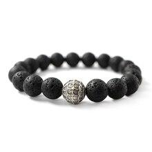 Pulsera de plata de piedra de Lava 925, amuleto, escamas de dragón, cuentas de moda para hombres, roca espiritual de la suerte, joyería rústica de salud Vintage