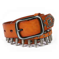 SCOLI ผู้ชาย warhead เข็มขัดหนังหัวเข็มขัดเฉพาะ retro bullet เข็มขัดเข็มขัดชาย vintage เข็มขัด