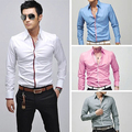 Men's Fashion Korean Stylish Casual Slim Fit Long Sleeve Tee Top Business Shirt