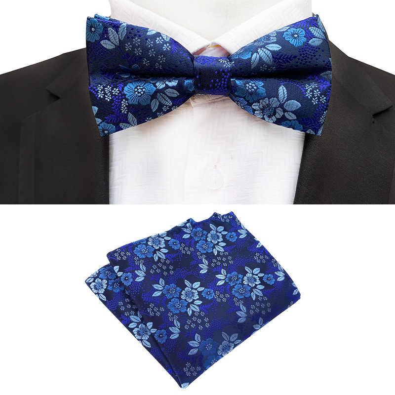 新しい正式な蝶ブルー高級ジャカード織り弓ネクタイセット Gravata 蝶ネクタイポケット正方形のハンカチボウタイ結婚式のため