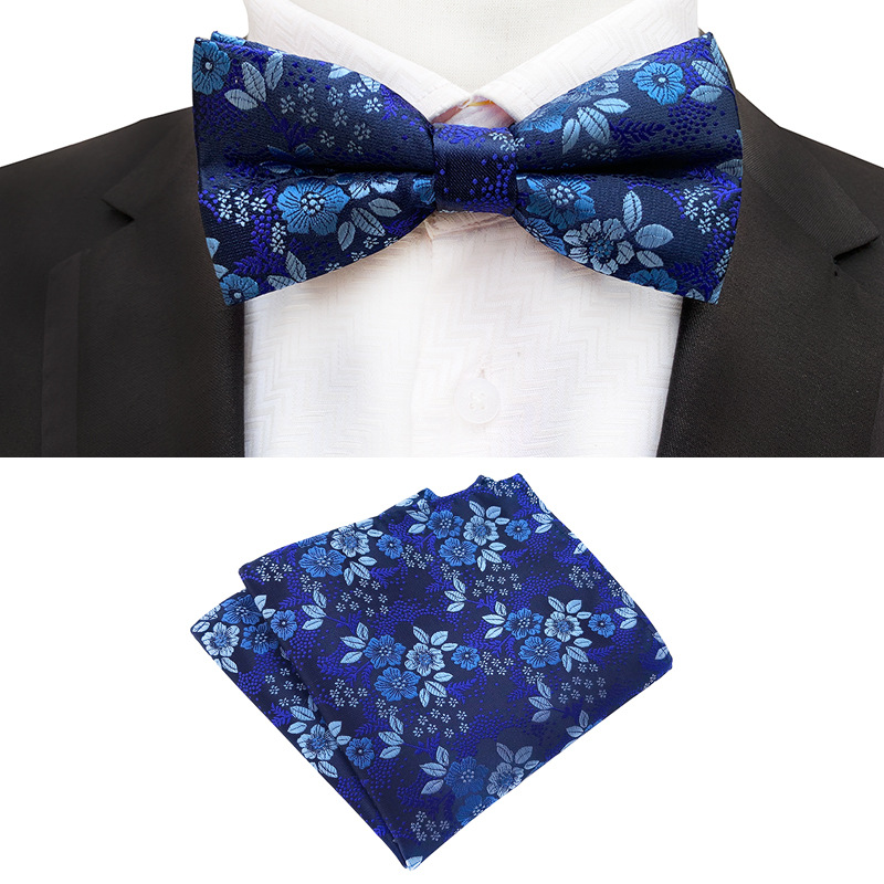 New Formal Butterfly Blue Luxury Jacquard Weave Bow Ties Set Gravata Bowties Pocket Square Handkerchief Bowtie Suit For Wedding