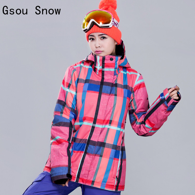 New Women Ski Jacket Gsou Snow Outdoor Sport Wear Windproof Waterproof Thicken Thermal Female Skiing Snowboard Snowboard Coat