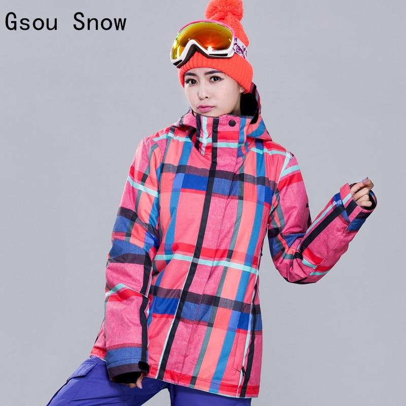 Prix pour Nouveau Femmes Ski Veste Gsou Neige Sport En Plein Air Porter Coupe-Vent Imperméable Épaissir Thermique Femelle Ski Snowboard Snowboard Manteau