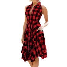 (Ship from US) JAYCOSIN Red Plaid Summer Vintage Sexy Short Dress Street  Party Lady Retro women dress clothings for ladies vestidos 19J13 86fdd66e7d4d