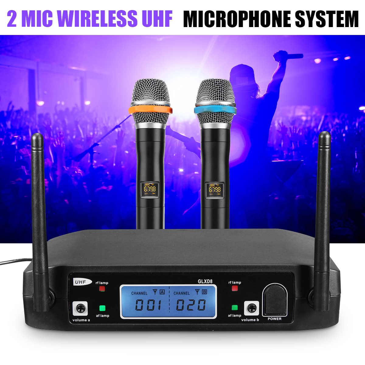 Wireless Karaoke Microphone System Digital Dual Receiver with UHF Receiver LCD Display Handheld Microphones Wireless micwl d400 uhf 4 gooseneck table uhf wireless conference microphones digital system for big meeting room