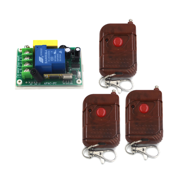 Free Shipping 1CH Remote Control Switch AC 220V 30A 3pcs Wooden Controller For Light Lamp ON/OFF SKU: 5331 ac 250v 20a normal close 60c temperature control switch bimetal thermostat
