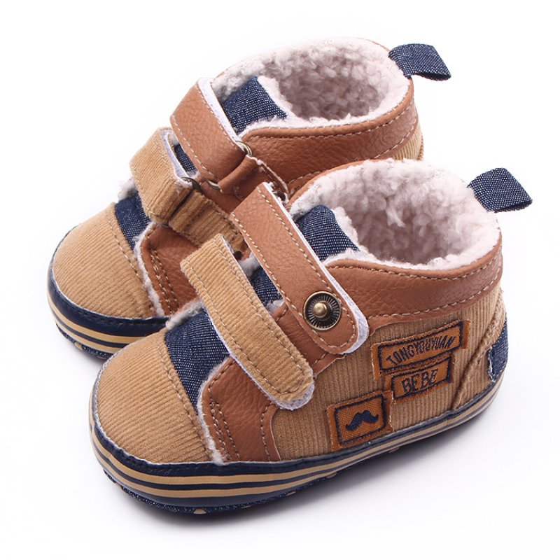 New Autumn Winter Canvas Stitching PU Baby Shoes Baby