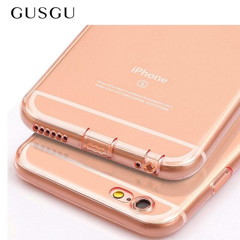 GUSGU Прозрачный чехол для телефона Ясно Мягкие <font><b>TPU</b></font> Ультра Тонкий силиконовый чехол телефона для <font><b>iPhone</b></font> 6/6s плюс