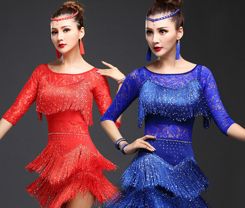 Femmes danse latine robe frange femmes salle de bal danse robes danse latine Costume danse dame Lamengo Salsa Samba danseur porter 89