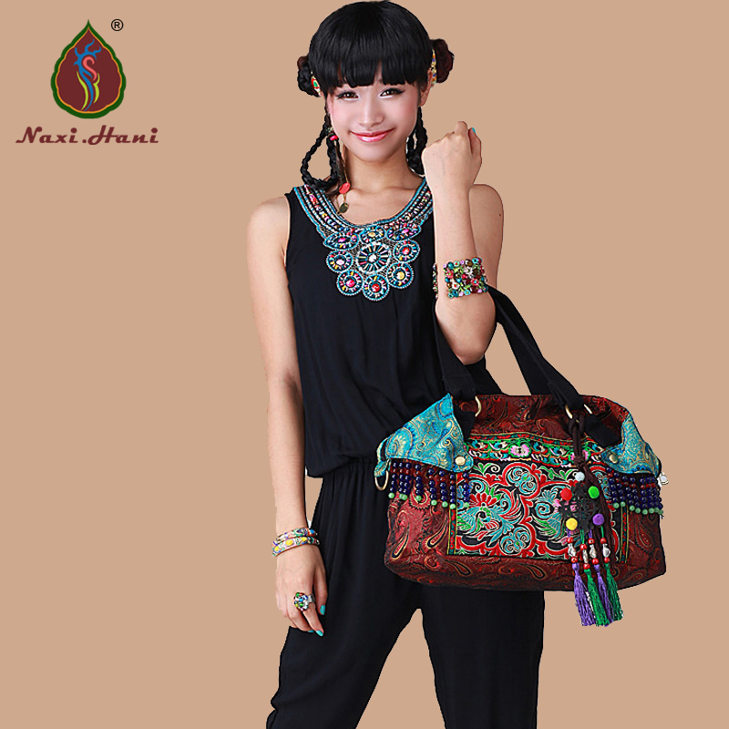 HOT Bohemia Silk brocade double-sided embroidery women handbags Ethnic Vintage handmade Beaded tassel shoulder crossbody bags newest ethnic double sided embroidered women handbags vintage handmade tassel rivet casual shoulder messenger bags