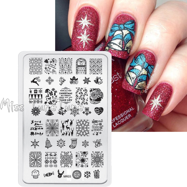 Xmas Designs Nail Stamping Plate Art Template Image Transfer Printing Tool Mr03 Christmas Stocking Candy