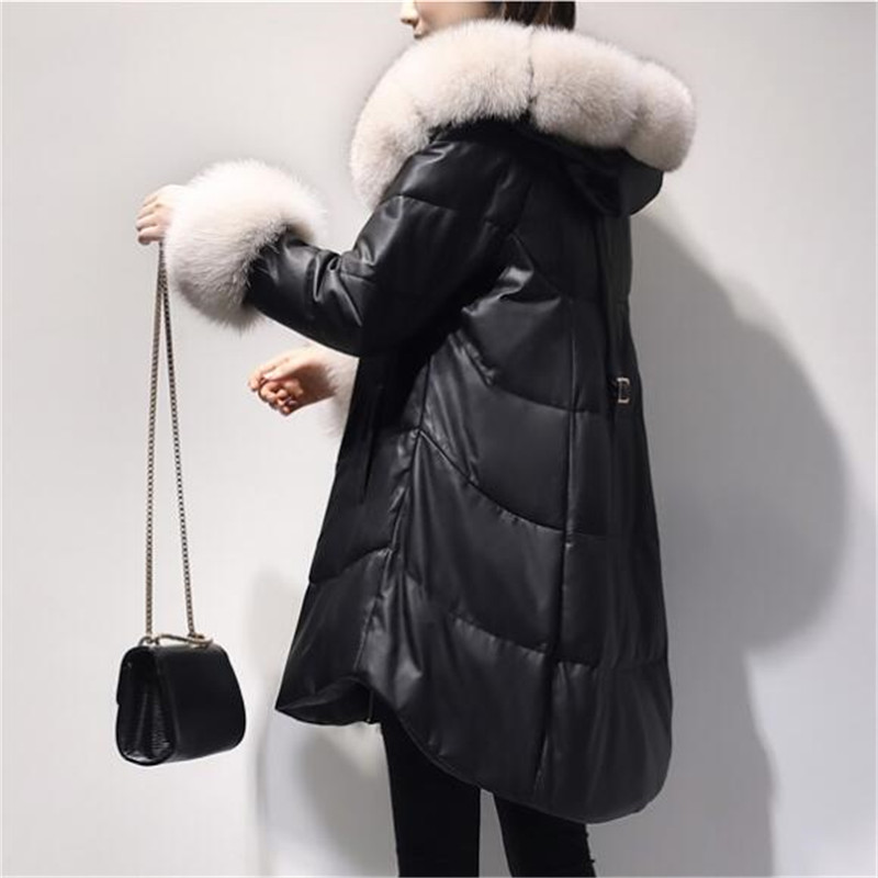 Lâche Long Black Mode Capuche À Vestes De Manteau Cuir Down D'hiver Grande Col Moyen Noir Veste En Femmes Fourrure Taille As902 Pu Épaissir 5qBwpApn