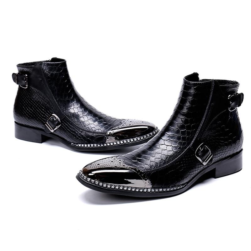 Do De Homem Dedo top Alta Artesanal Brogue Sapatos Equitação Couro Designer Martin Calçados Boots Redondo Preto Ankle Sl486 Dos Homens Britânico Genuíno Pé zqYWwF