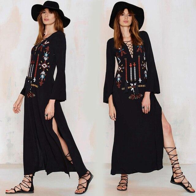 Boho dress народных Женщин Длиной макси черный Dress Вышивка Sexy Глубокий V-образный Вырез Хиппи шик Платья Щелевая женщины бренд одежды