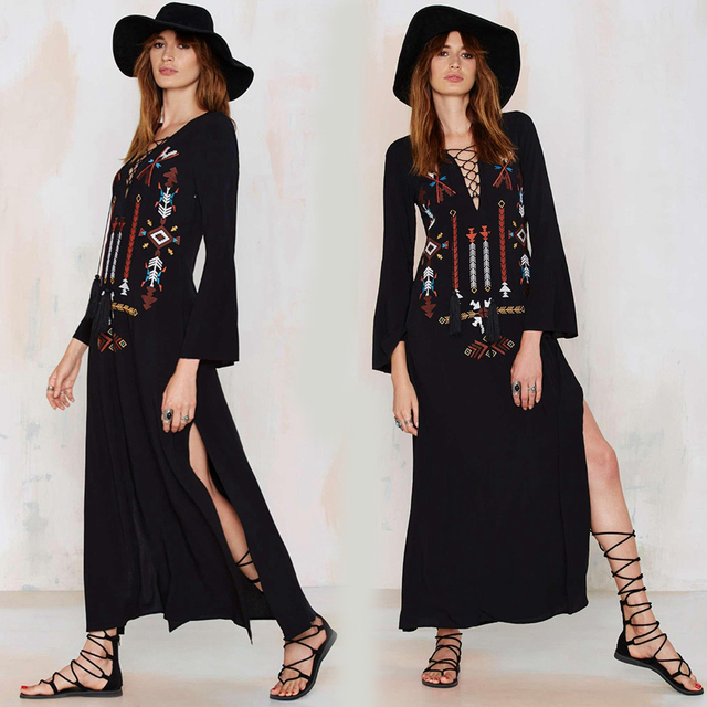 boho dress Women folk Long maxi black Dress Embroidery Sexy Deep V-Neck Hippie chic Dresses Slit women brand clothing