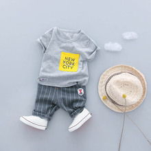 hot deal buy boys clothes set 2018 new summer 0-3y fashion style kids sets cotton material o-neck 18020 good quality boys clothing suit