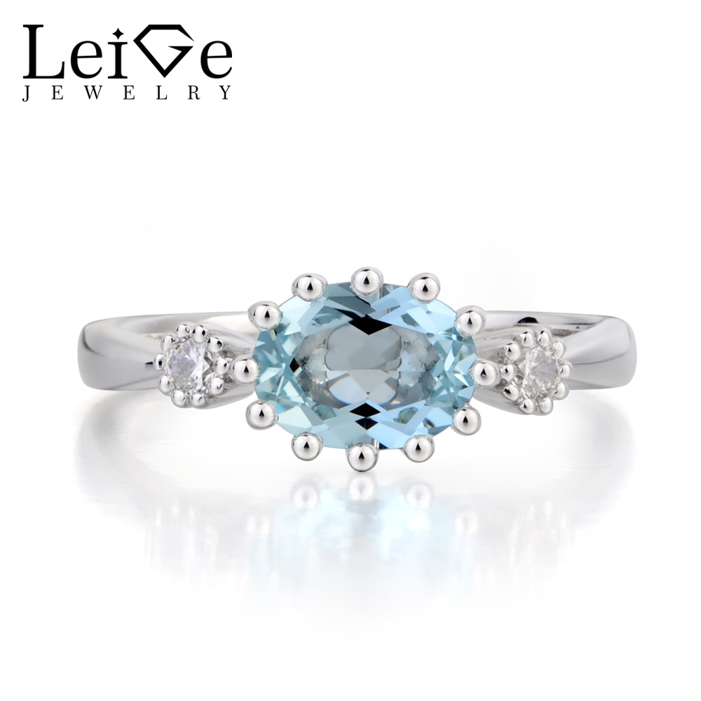 Leige Jewelry Promise Ring Natural Aquamarine Ring March Birthstone Oval Cut Blue Gems Sterling Silver Ring Three Stones Ring