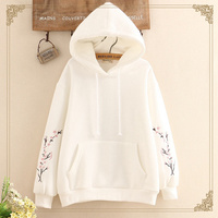 2018 New Arrival White Hooeded Sweatshirt Women Elegant Floral Embroidery Long Sleeve Pullover High Quality Christmas Hoodies