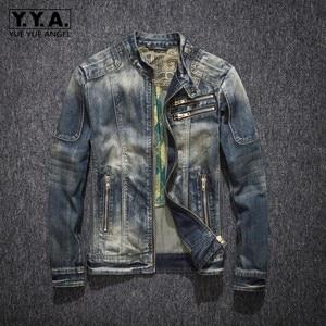 Image 1 - Mens ג ינס מעיל רחוב צווארון עומד רוכסן Biker סגנון קאובוי ארוך שרוול מעיל קלאסי בציר היפ הופ ז אן מעיל להאריך ימים יותר
