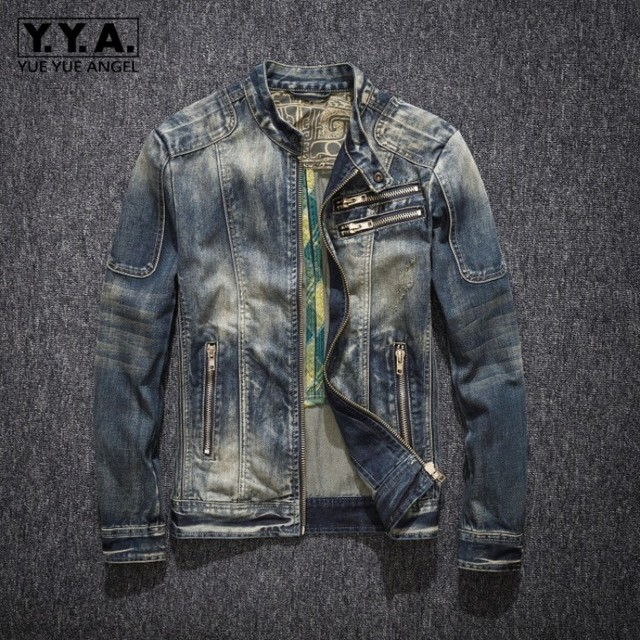 Mens ג ינס מעיל רחוב צווארון עומד רוכסן Biker סגנון קאובוי ארוך שרוול מעיל קלאסי בציר היפ הופ ז אן מעיל להאריך ימים יותר