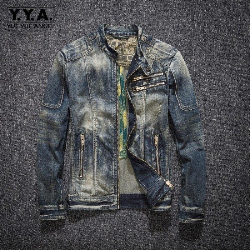 Mens Denim Coat Street Stand Collar Zipper Biker Style Cowboy Long Sleeve Jacket Classic Vintage Hip Hop Jean Jacket Outwear