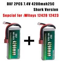 2017 2PCS DXF Shark Version Rc Lipo Battery 2S 7 4V 4200mah 25C Max 30C For