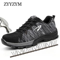 2453c8e29b ZYYZYM Homens Biqueira de Aço Sapatos de Segurança do Trabalho Sapatos  Casuais Homens Não-slip