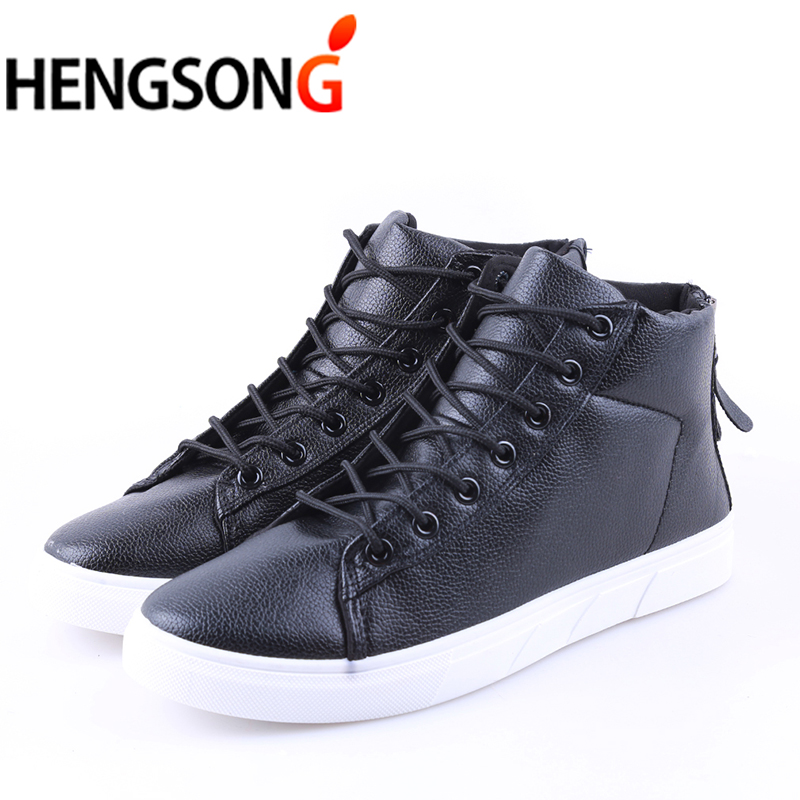 2018 Spring Fashion PU Leather Shoes For Men Casual Shoes With Zip High Top Lace Up Ankle Boot Mens Shoe Black Plus Size 39-44 fonirra new fashion high top casual shoes for men ankle boots pu leather lace up breathable hip hop shoes large size 45 728