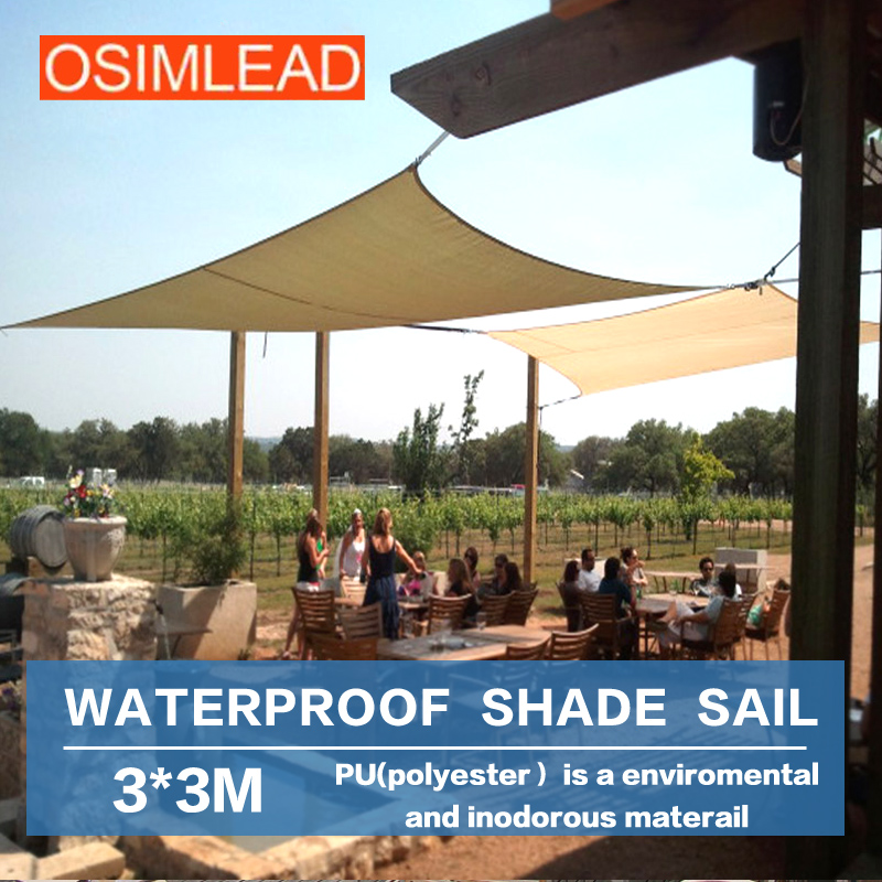 Osimlead high quality 3 3m waterproof sun shade sail for Shade sail cost