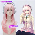 Lolita Girl SONICOMI Anime Hair SUPERSONICO Wig Light Pink Gradient Long Straight Hair Cosplay Wig Free Shipping + Free Wig Cap