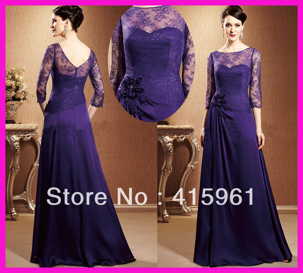 Vintage Purple Lace Long Sleeves Chiffon Mother of the Bride Dresses Gowns M1560