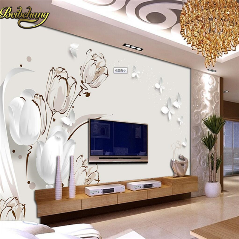 US $9.15 39% OFF|Beibehang Benutzerdefinierte schöne traum blume liebe  blume fototapete 3D große wandbild wohnzimmer schlafzimmer TV hintergrund  ...