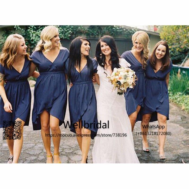 2017 navy blue bridesmaid dresses short chiffon wedding for Navy blue dress wedding guest