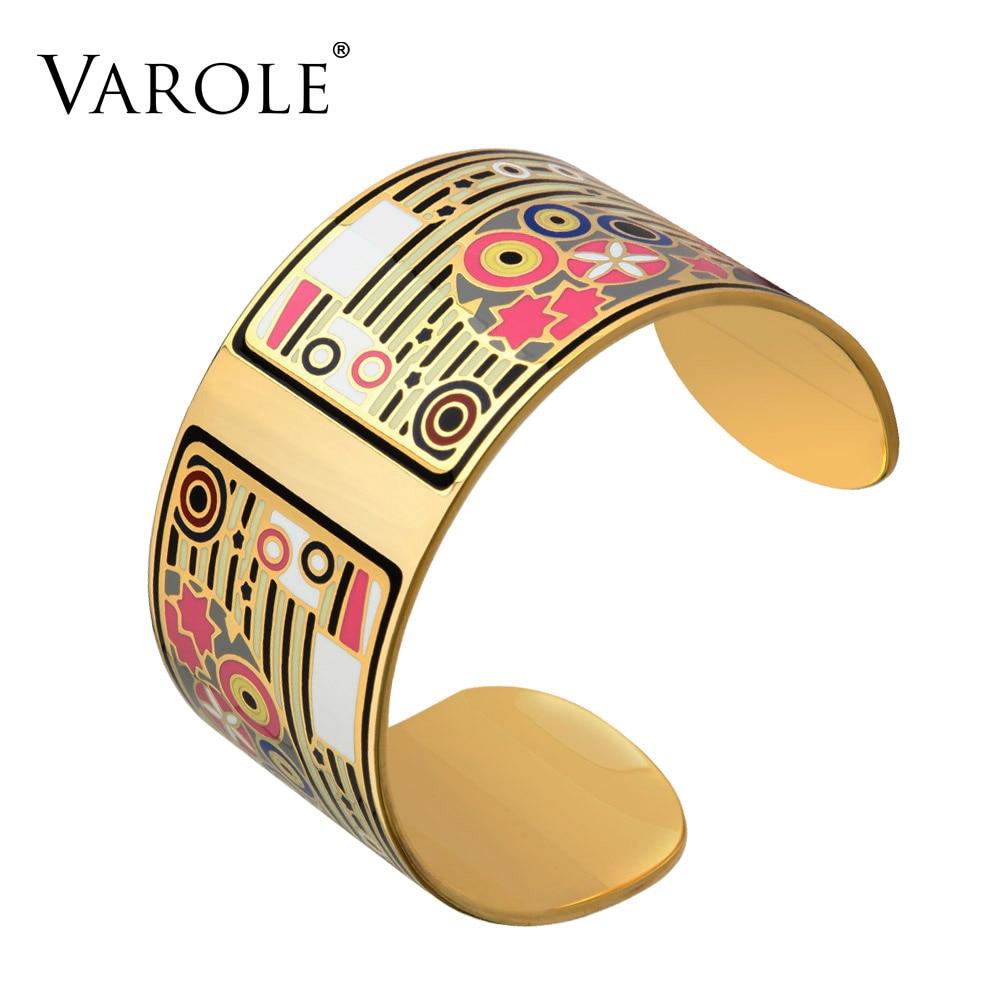 VAROLE Sweet Romantic Copper Opening Color Enamel Love Bangle Bracelets & Bangles Pulseiras Women Femme Fashion Jewelry pulsera varole fashion enamel opening bracelets