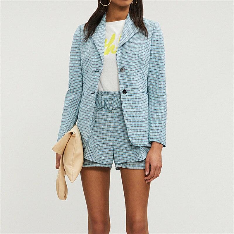 جديد وصول المرأة الأزرق منقوشة السترة انكلترا نمط منقوشة ضئيلة دعوى معطف أعلى-في السترات من ملابس نسائية على  مجموعة 1