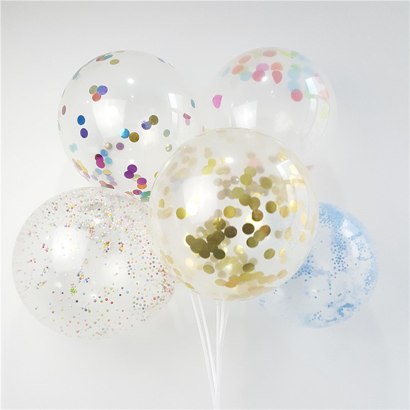 5pcs 12 Inch Transparent Confetti Balloons Latex Balloons Round Star Multicolor Confetti for Wedding Party Birthday Decorations